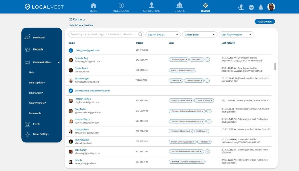 Contacts page on Localvest